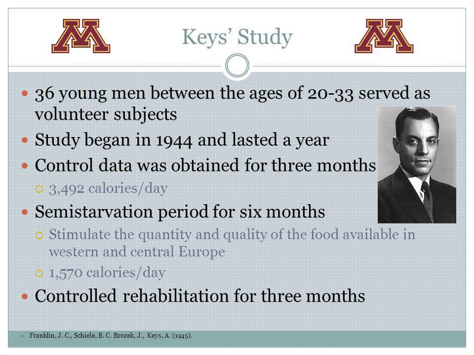 Keys Study -Franklin, J. C., Schiele, B. C. Brozek, J., Keys, A. (1945). 36 young men between the ages of 20-33 served as volunteer subjects Study beg