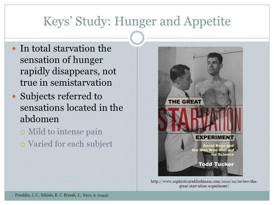 Keys Study: Hunger and Appetite - Franklin, J. C., Schiele, B. C. Brozek, J., Keys, A. (1945). In total starvation the sensation of hunger rapidly dis