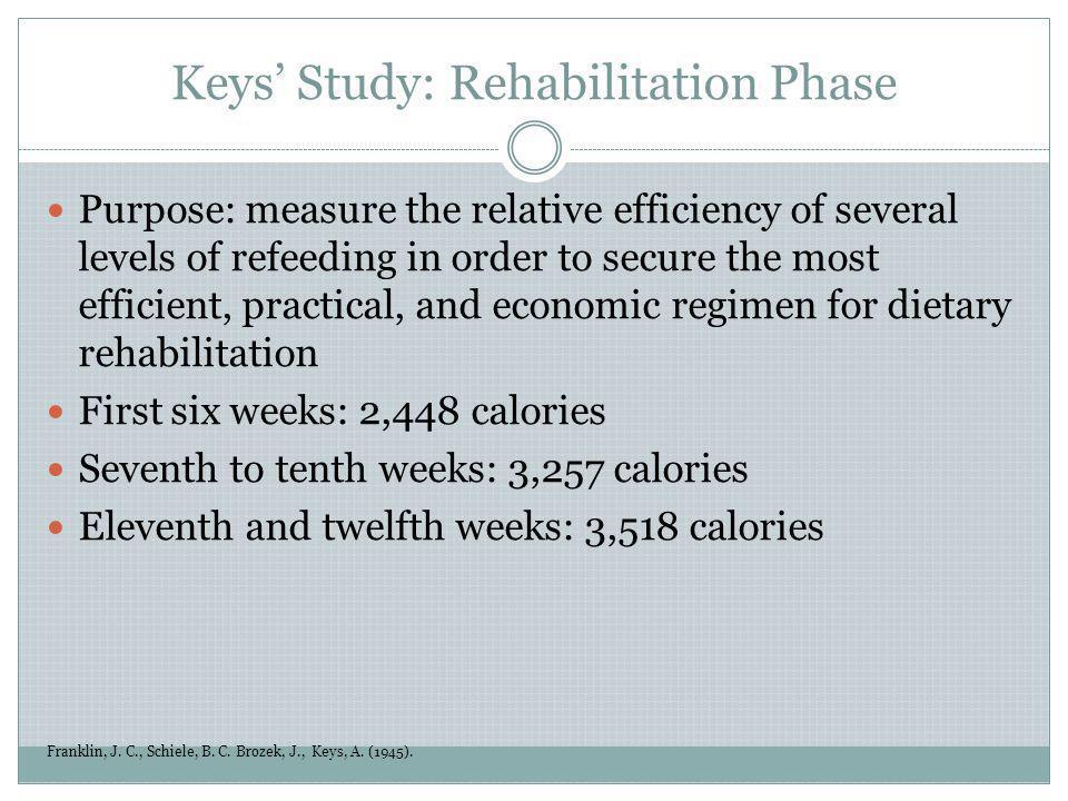 Keys Study: Rehabilitation Phase Franklin, J. C., Schiele, B. C. Brozek, J., Keys, A. (1945). Purpose: measure the relative efficiency of several leve