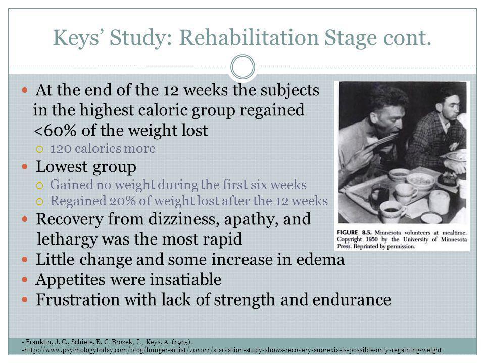 Keys Study: Rehabilitation Stage cont. - Franklin, J. C., Schiele, B. C. Brozek, J., Keys, A. (1945). -http://www.psychologytoday.com/blog/hunger-arti
