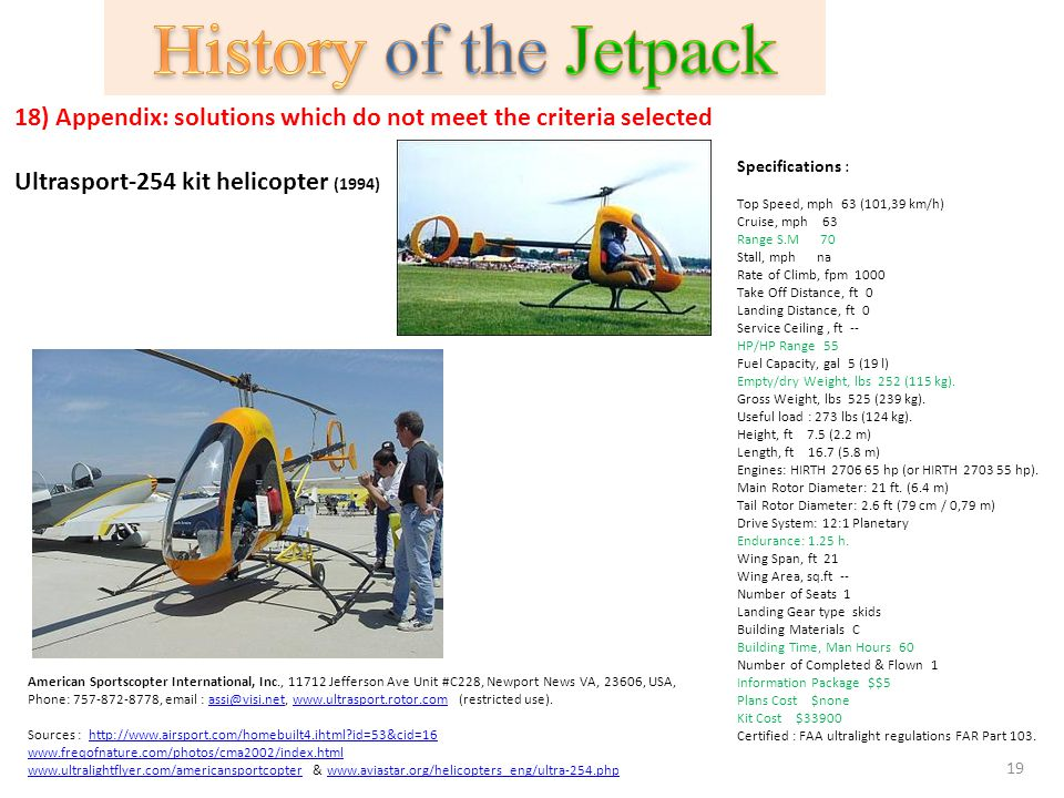18) Appendix: solutions which do not meet the criteria selected Ultrasport-254 kit helicopter (1994) Specifications : Top Speed, mph 63 (101,39 km/h)