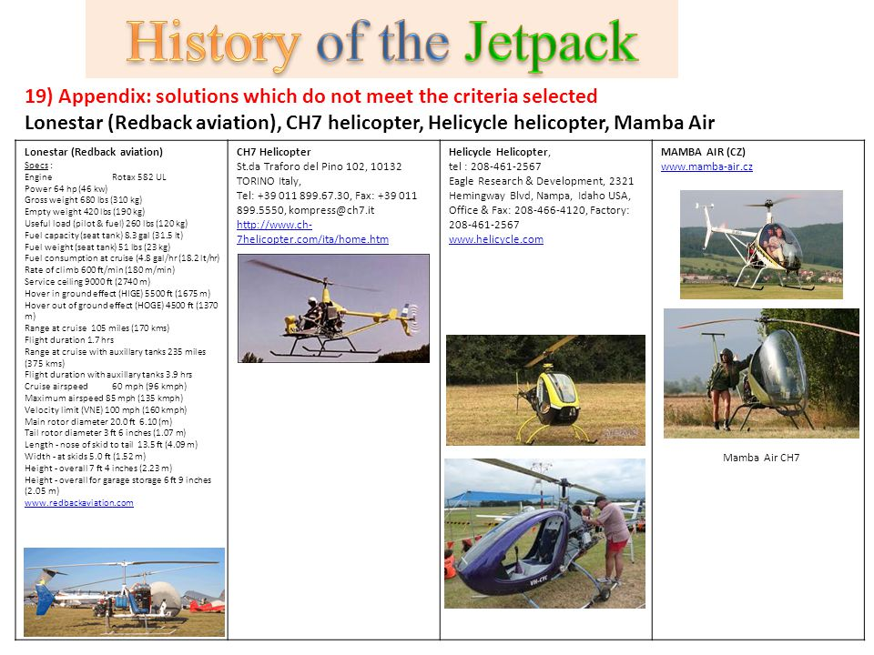 19) Appendix: solutions which do not meet the criteria selected Lonestar (Redback aviation), CH7 helicopter, Helicycle helicopter, Mamba Air Lonestar