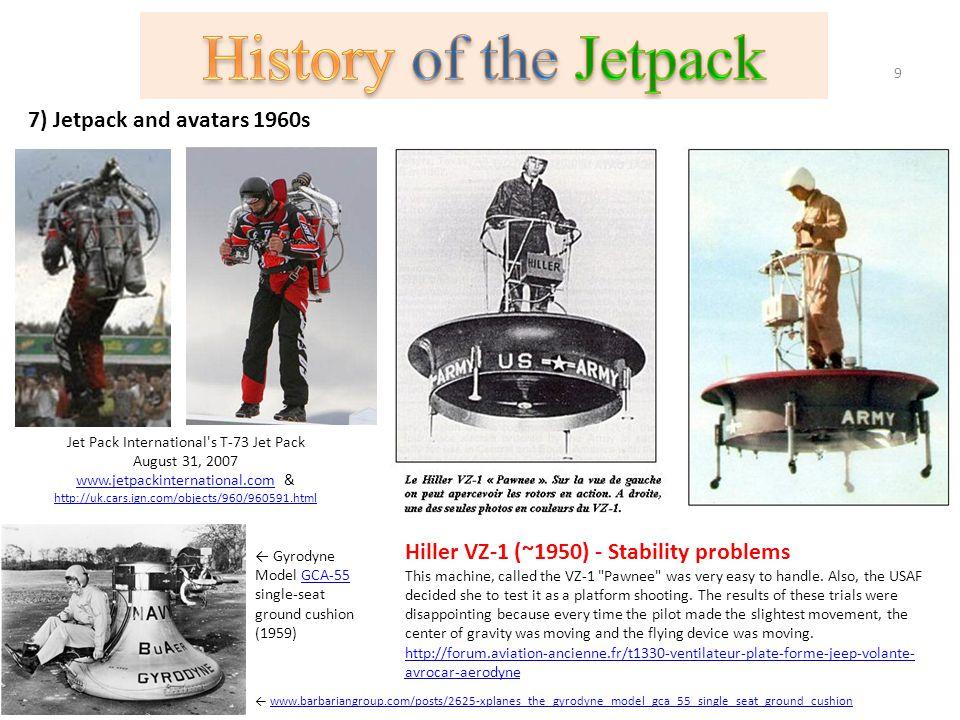 7) Jetpack and avatars 1960s Jet Pack International's T-73 Jet Pack August 31, 2007 www.jetpackinternational.comwww.jetpackinternational.com & http://