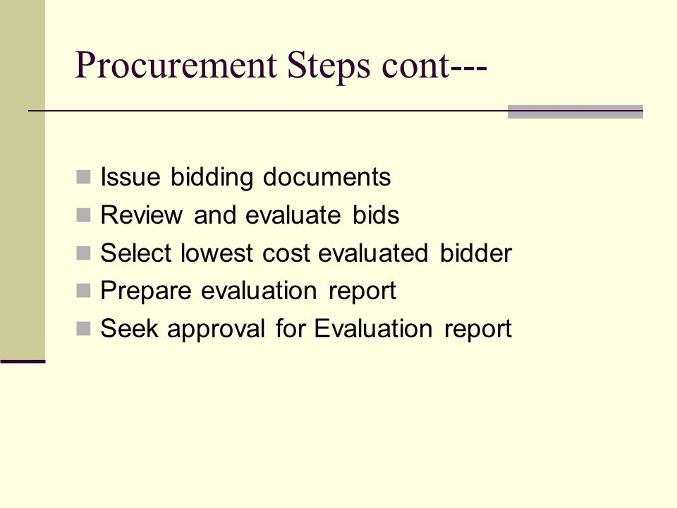 Procurement Steps cont--- Issue bidding documents Review and evaluate bids Select lowest cost evaluated bidder Prepare evaluation report Seek approval for Evaluation report