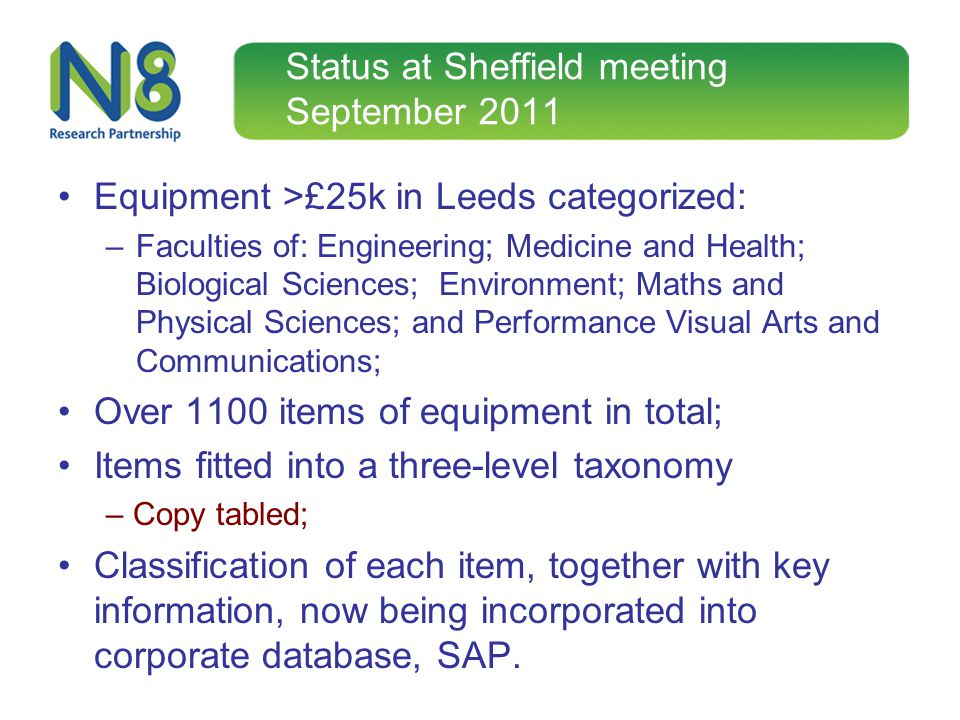 Status at Sheffield meeting September 2011 Equipment >£25k in Leeds categorized: –Faculties of: Engineering; Medicine and Health; Biological Sciences;