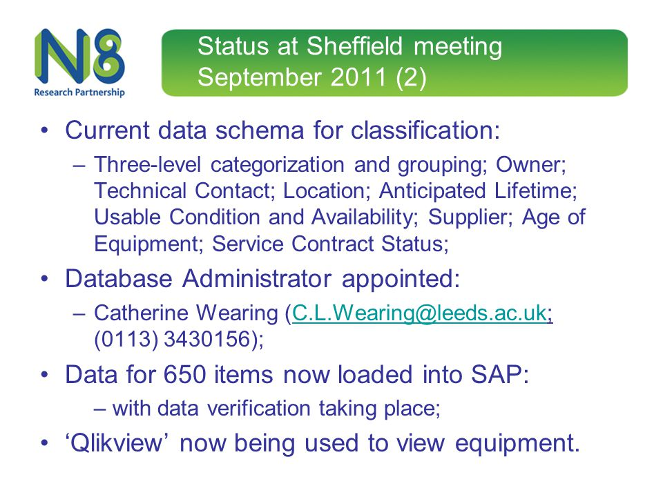 Status at Sheffield meeting September 2011 (2) Current data schema for classification: –Three-level categorization and grouping; Owner; Technical Cont