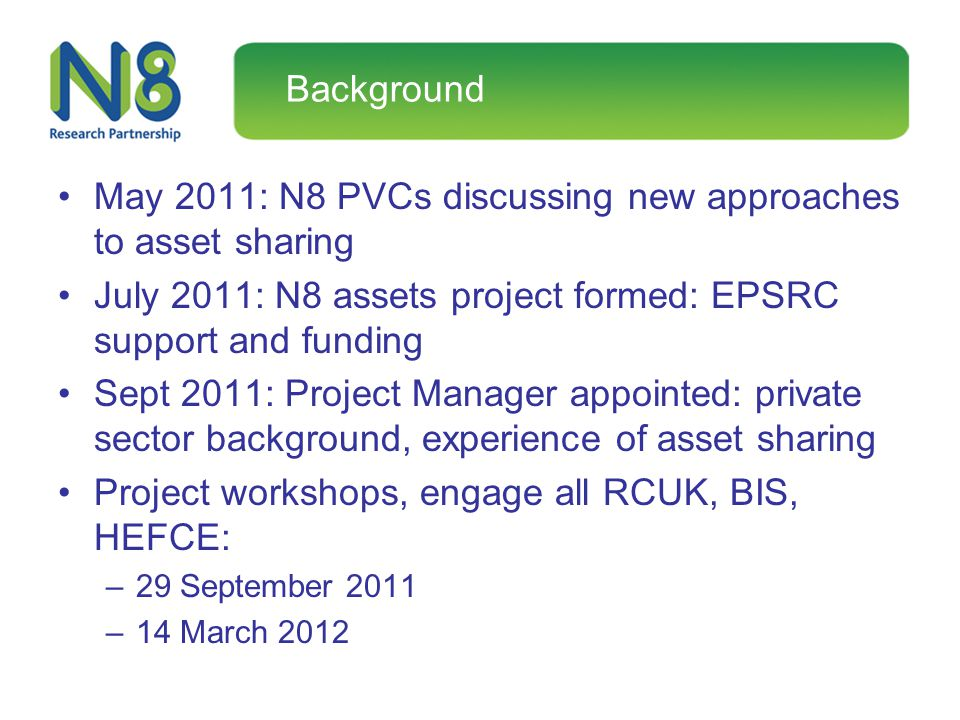Background May 2011: N8 PVCs discussing new approaches to asset sharing July 2011: N8 assets project formed: EPSRC support and funding Sept 2011: Proj