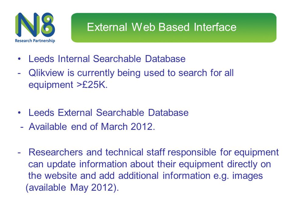 External Web Based Interface Leeds Internal Searchable Database -Qlikview is currently being used to search for all equipment >£25K. Leeds External Se