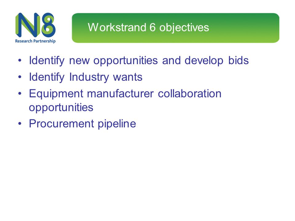 Workstrand 6 objectives Identify new opportunities and develop bids Identify Industry wants Equipment manufacturer collaboration opportunities Procure
