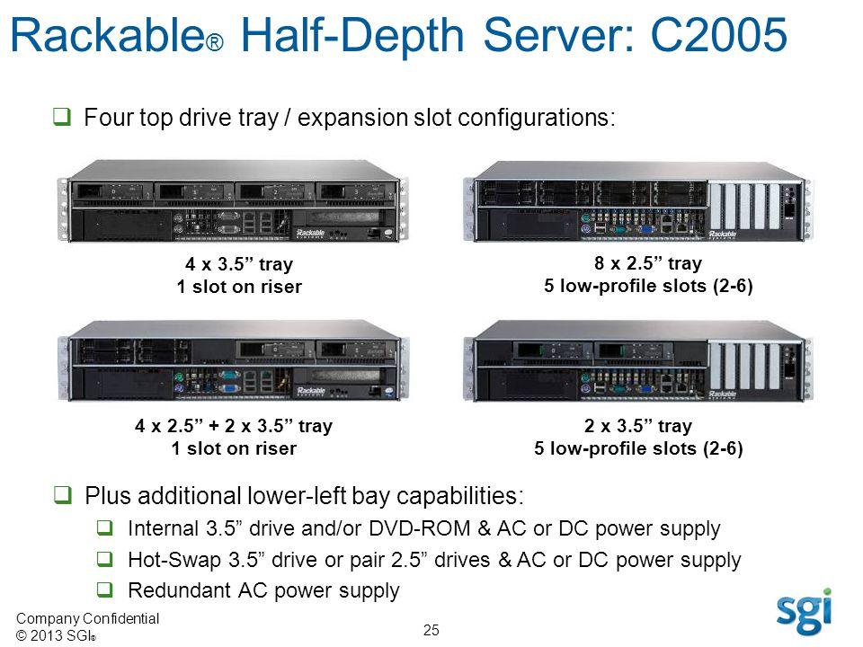 Company Confidential © 2013 SGI ® 25 4 x 2.5 + 2 x 3.5 tray 1 slot on riser 8 x 2.5 tray 5 low-profile slots (2-6) 4 x 3.5 tray 1 slot on riser 2 x 3.