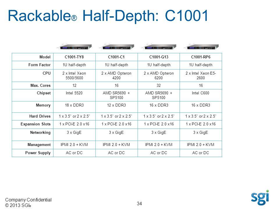 Company Confidential © 2013 SGI ® 34 Rackable ® Half-Depth: C1001 ModelC1001-TY8C1001-C1C1001-G13C1001-RP6 Form Factor1U half-depth CPU2 x Intel Xeon