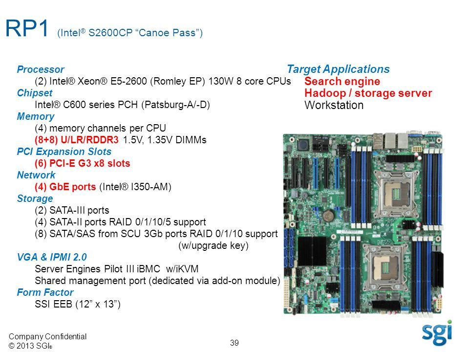 Company Confidential © 2013 SGI ® 39 Processor (2) Intel® Xeon® E5-2600 (Romley EP) 130W 8 core CPUs Chipset Intel® C600 series PCH (Patsburg-A/-D) Me