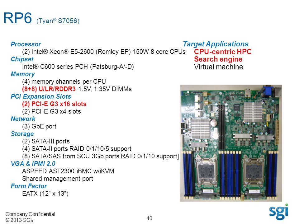 Company Confidential © 2013 SGI ® 40 Target Applications CPU-centric HPC Search engine Virtual machine Processor (2) Intel® Xeon® E5-2600 (Romley EP)