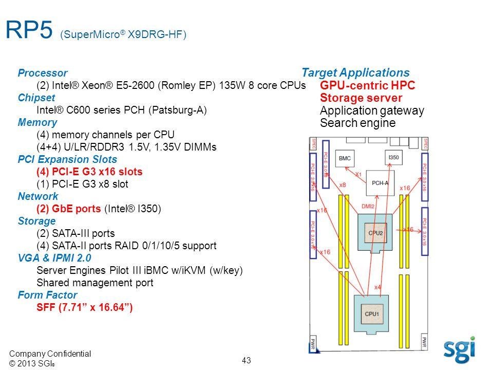 Company Confidential © 2013 SGI ® 43 Processor (2) Intel® Xeon® E5-2600 (Romley EP) 135W 8 core CPUs Chipset Intel® C600 series PCH (Patsburg-A) Memor