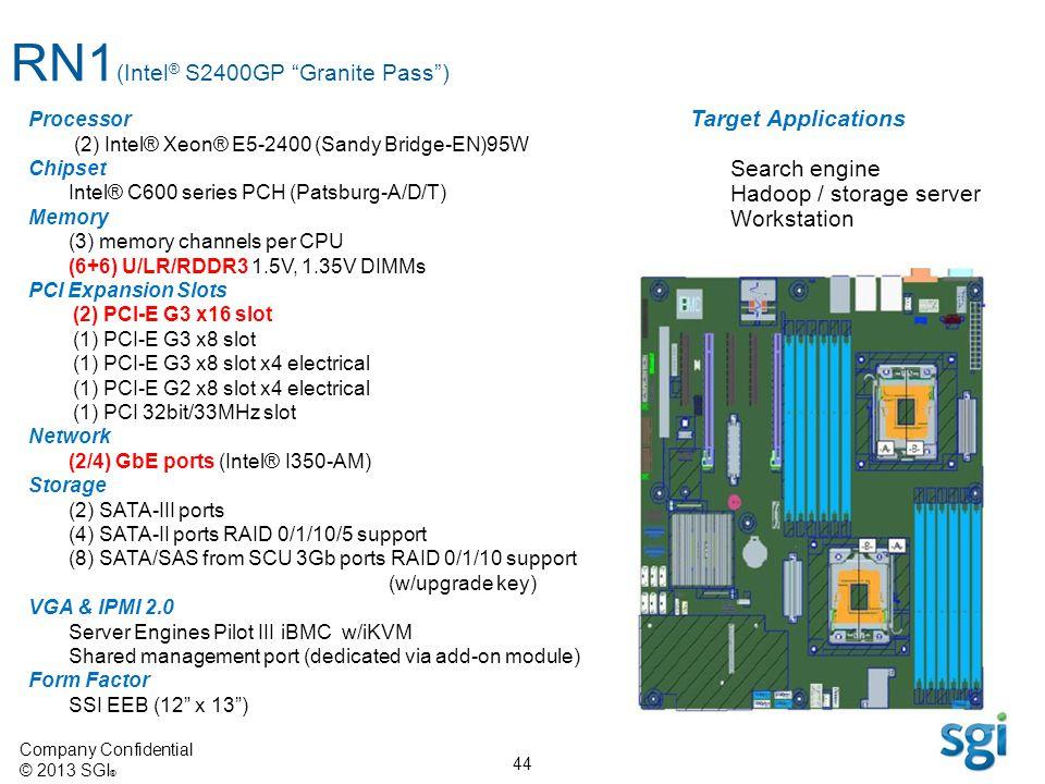 Company Confidential © 2013 SGI ® 44 RN1 (Intel ® S2400GP Granite Pass) Processor (2) Intel® Xeon® E5-2400 (Sandy Bridge-EN)95W Chipset Intel® C600 se