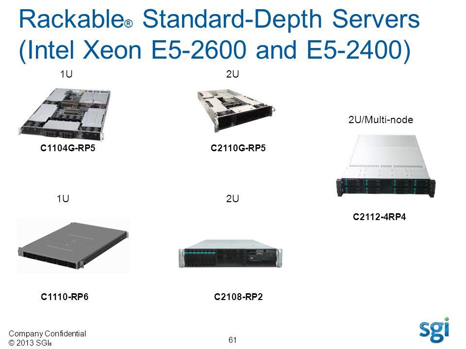 Company Confidential © 2013 SGI ® 61 Rackable ® Standard-Depth Servers (Intel Xeon E5-2600 and E5-2400) 1U C1104G-RP5 2U C2110G-RP5 1U2U C1110-RP6C210