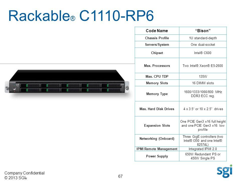 Company Confidential © 2013 SGI ® 67 Code NameBison Chassis Profile1U standard-depth Servers/SystemOne dual-socket ChipsetIntel® C600 Max. ProcessorsT