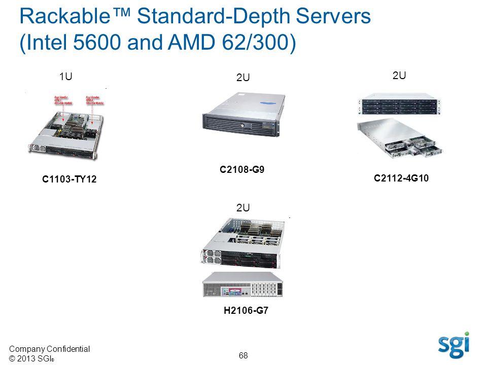 Company Confidential © 2013 SGI ® 68 Rackable Standard-Depth Servers (Intel 5600 and AMD 62/300) 2U C2108-G9 1U 2U C1103-TY12 H2106-G7 C2112-4G10