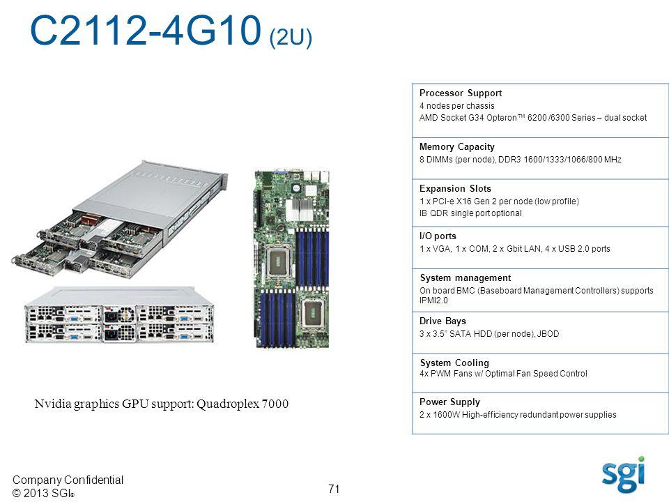 Company Confidential © 2013 SGI ® 71 Processor Support 4 nodes per chassis AMD Socket G34 Opteron 6200 /6300 Series – dual socket Memory Capacity 8 DI