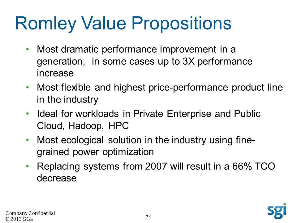 Company Confidential © 2013 SGI ® 74 Romley Value Propositions Most dramatic performance improvement in a generation, in some cases up to 3X performan