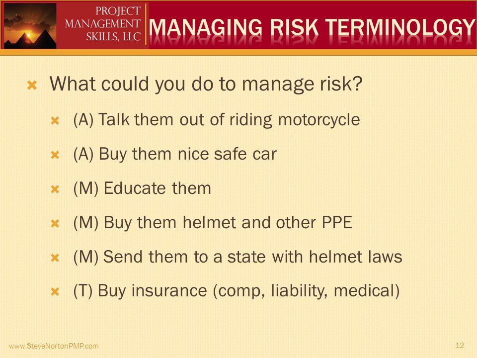 www.SteveNortonPMP.com 12 What could you do to manage risk.