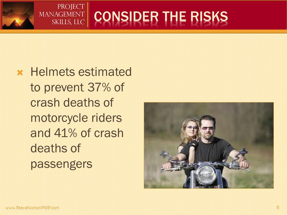 www.SteveNortonPMP.com 6 Helmets estimated to prevent 37% of crash deaths of motorcycle riders and 41% of crash deaths of passengers