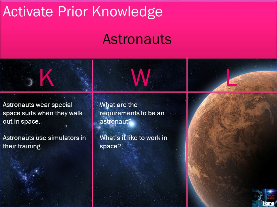 Activate Prior Knowledge KWL Astronauts Astronauts wear special space suits when they walk out in space.