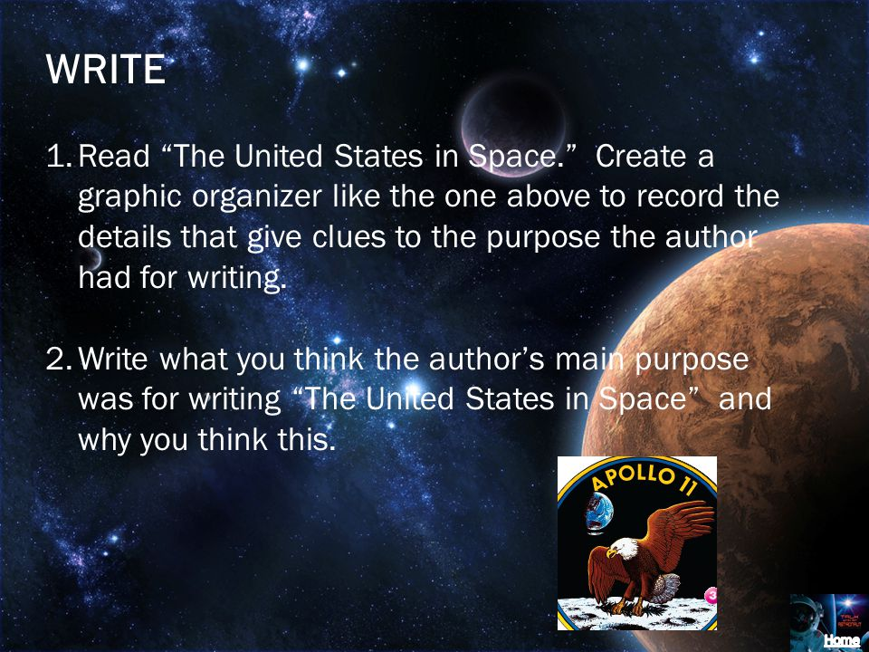 WRITE 1.Read The United States in Space.