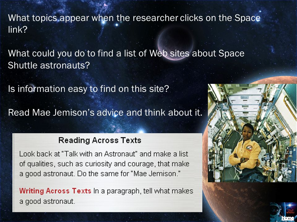 What topics appear when the researcher clicks on the Space link.