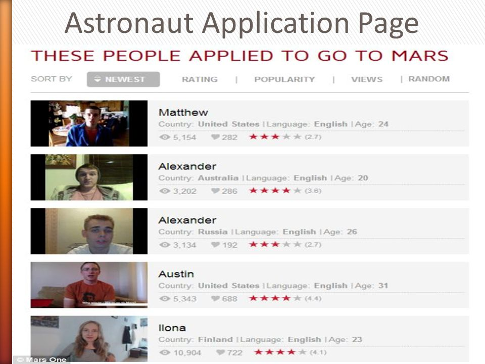 Astronaut Application Page