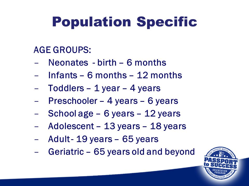 AGE GROUPS: –Neonates - birth – 6 months –Infants – 6 months – 12 months –Toddlers – 1 year – 4 years –Preschooler – 4 years – 6 years –School age – 6