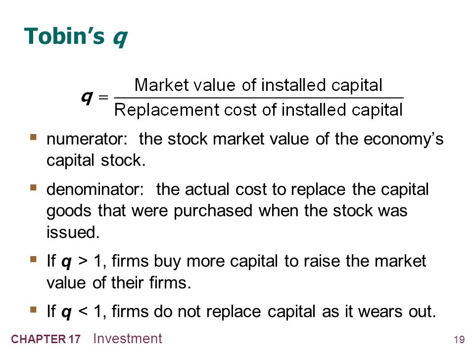 19 CHAPTER 17 Investment Tobins q numerator: the stock market value of the economys capital stock. denominator: the actual cost to replace the capital
