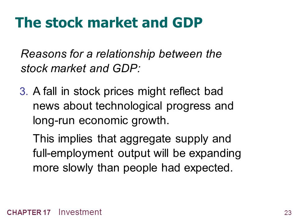 23 CHAPTER 17 Investment The stock market and GDP Reasons for a relationship between the stock market and GDP: 3. A fall in stock prices might reflect