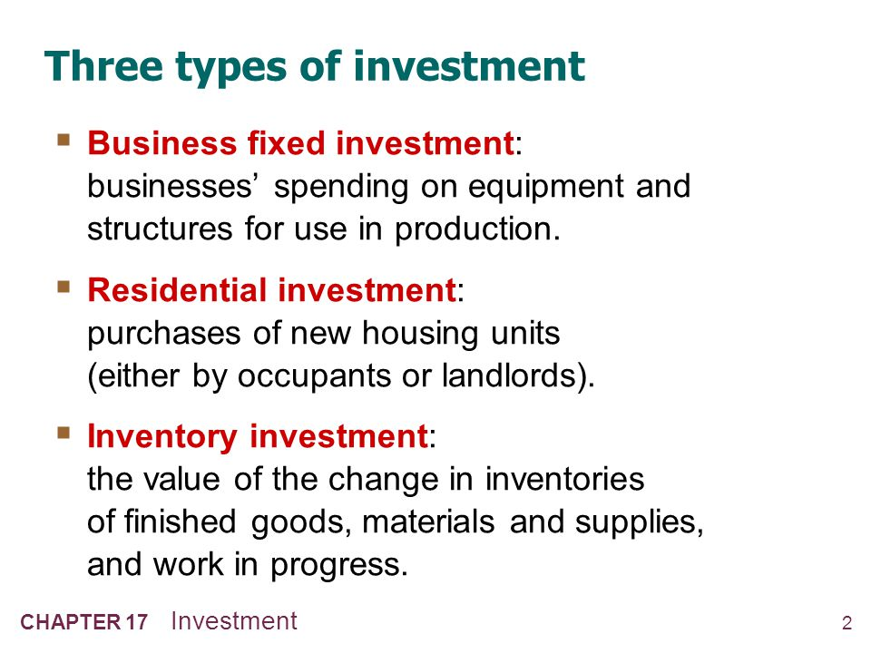 2 CHAPTER 17 Investment Three types of investment Business fixed investment: businesses spending on equipment and structures for use in production. Re