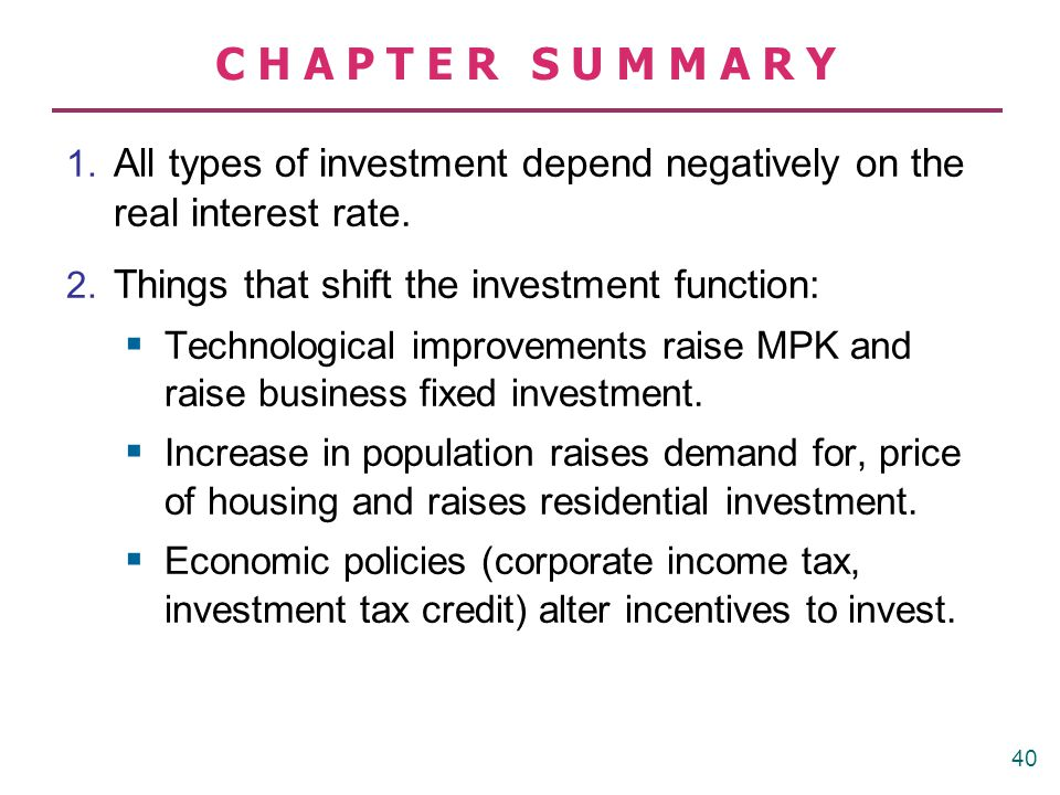 CHAPTER SUMMARY 1. All types of investment depend negatively on the real interest rate. 2. Things that shift the investment function: Technological im
