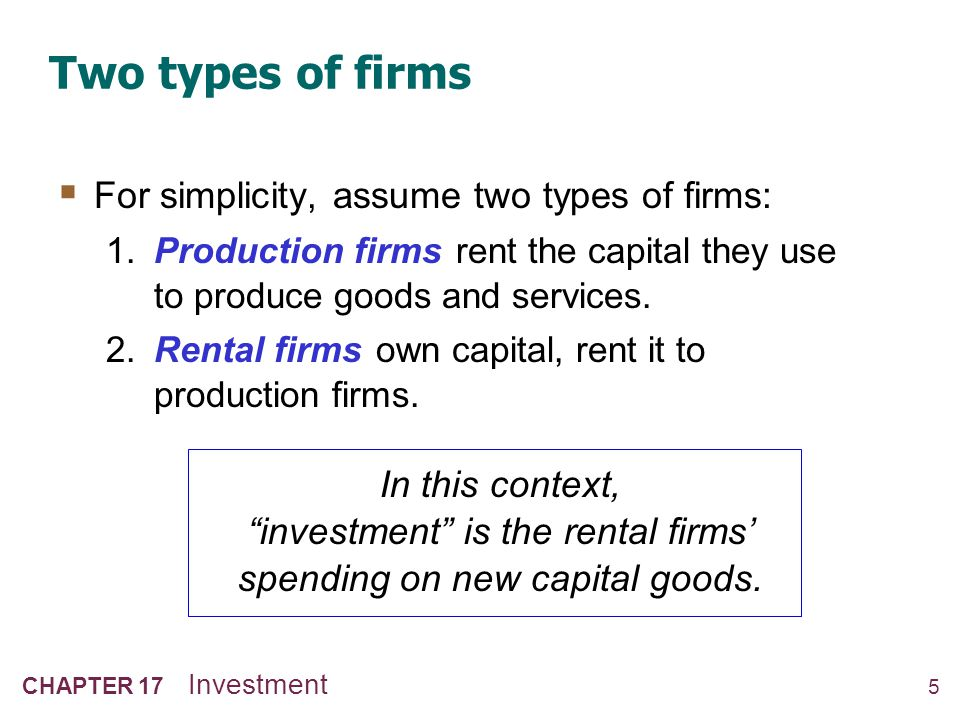 5 CHAPTER 17 Investment Two types of firms For simplicity, assume two types of firms: 1. Production firms rent the capital they use to produce goods a