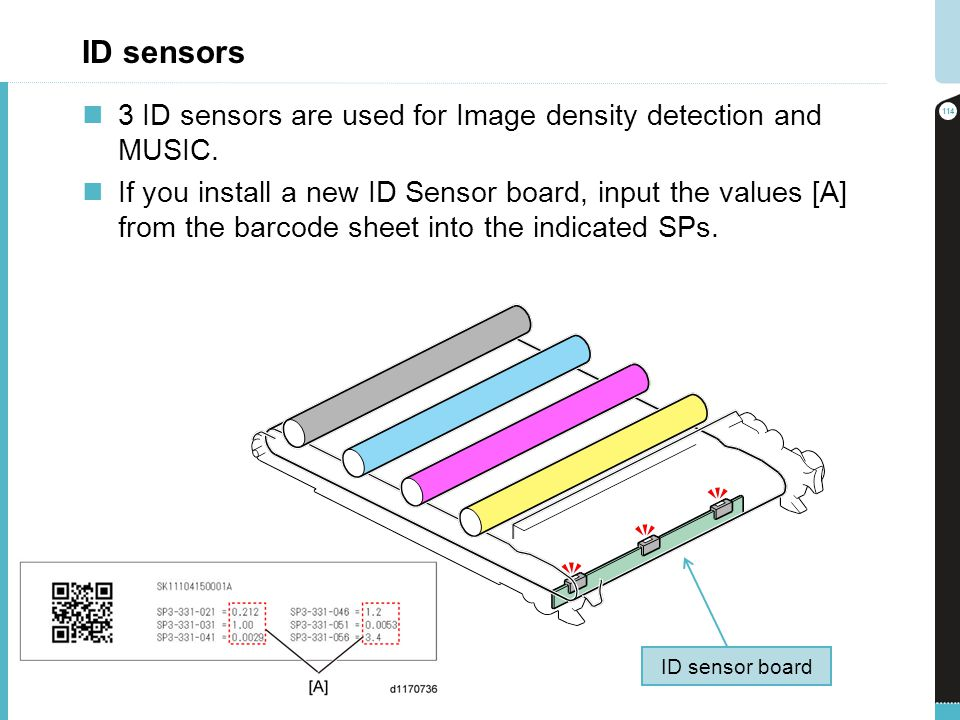 ID sensors 3 ID sensors are used for Image density detection and MUSIC. If you install a new ID Sensor board, input the values [A] from the barcode sh