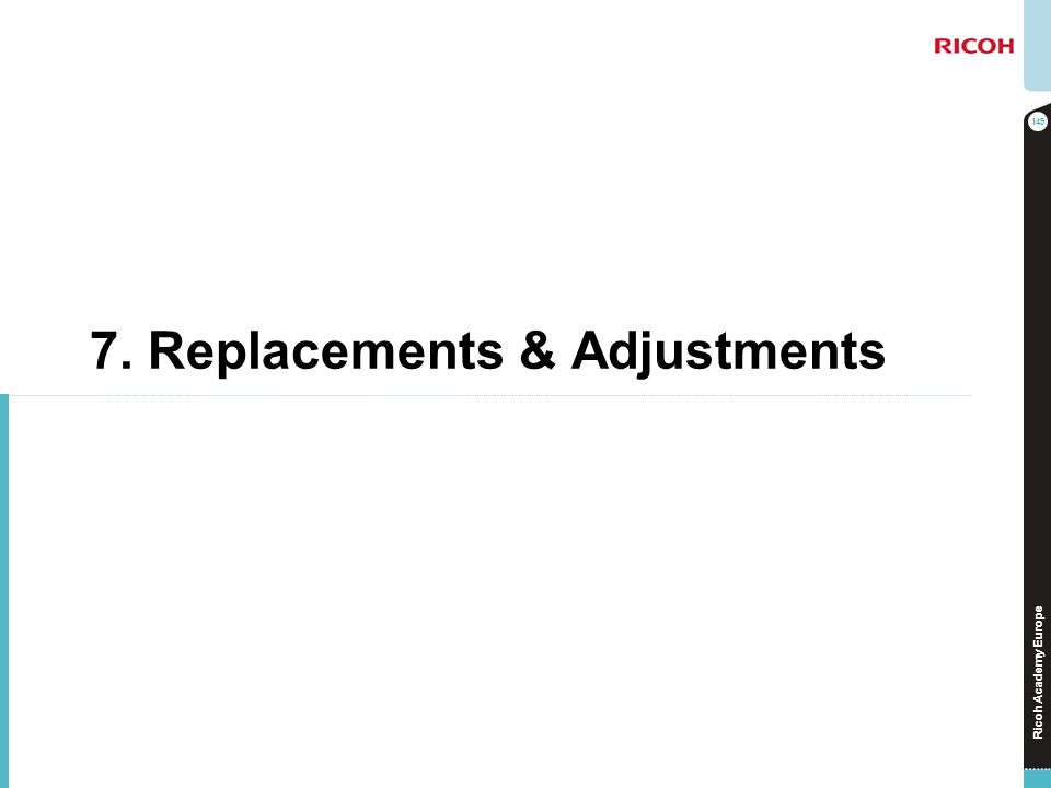Ricoh Academy Europe 7. Replacements & Adjustments 149