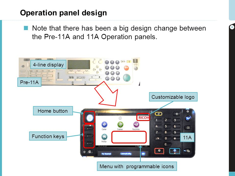 Operation panel design Note that there has been a big design change between the Pre-11A and 11A Operation panels. 26 Pre-11A 11A Customizable logo Hom