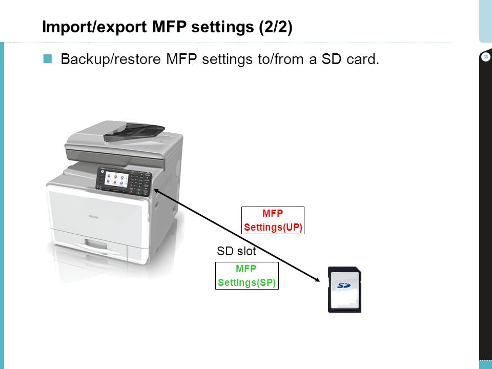 Import/export MFP settings (2/2) Backup/restore MFP settings to/from a SD card.