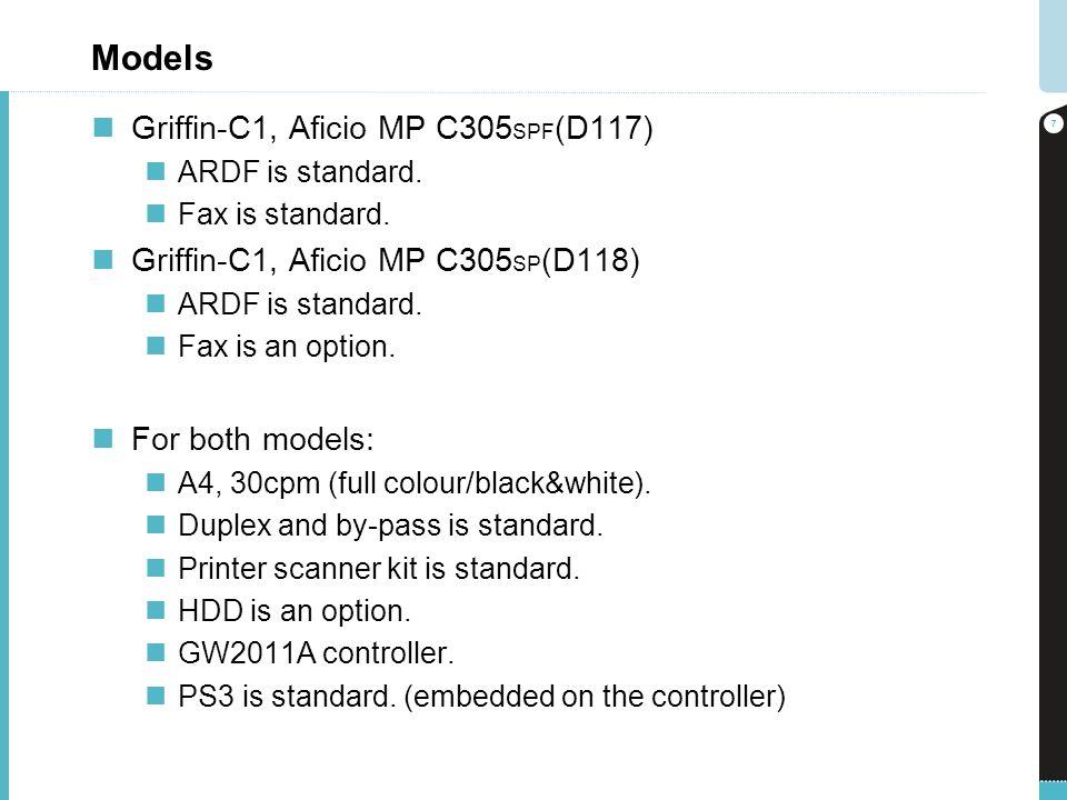 Models Griffin-C1, Aficio MP C305 SPF (D117) ARDF is standard. Fax is standard. Griffin-C1, Aficio MP C305 SP (D118) ARDF is standard. Fax is an optio