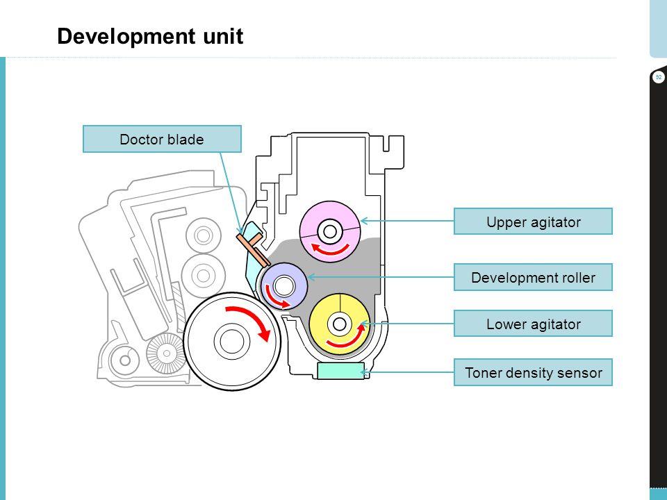 Development unit 92 Toner density sensor Lower agitator Development roller Upper agitator Doctor blade