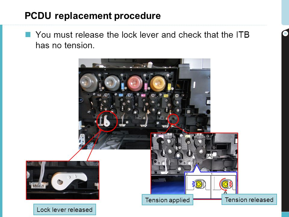 PCDU replacement procedure You must release the lock lever and check that the ITB has no tension. 95 Lock lever released Tension released Tension appl