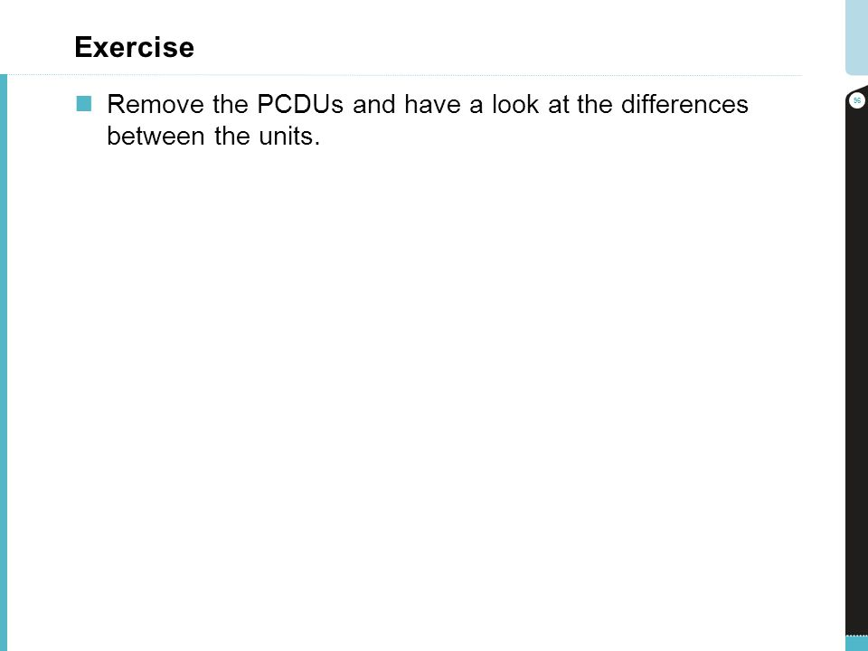 Exercise Remove the PCDUs and have a look at the differences between the units. 96