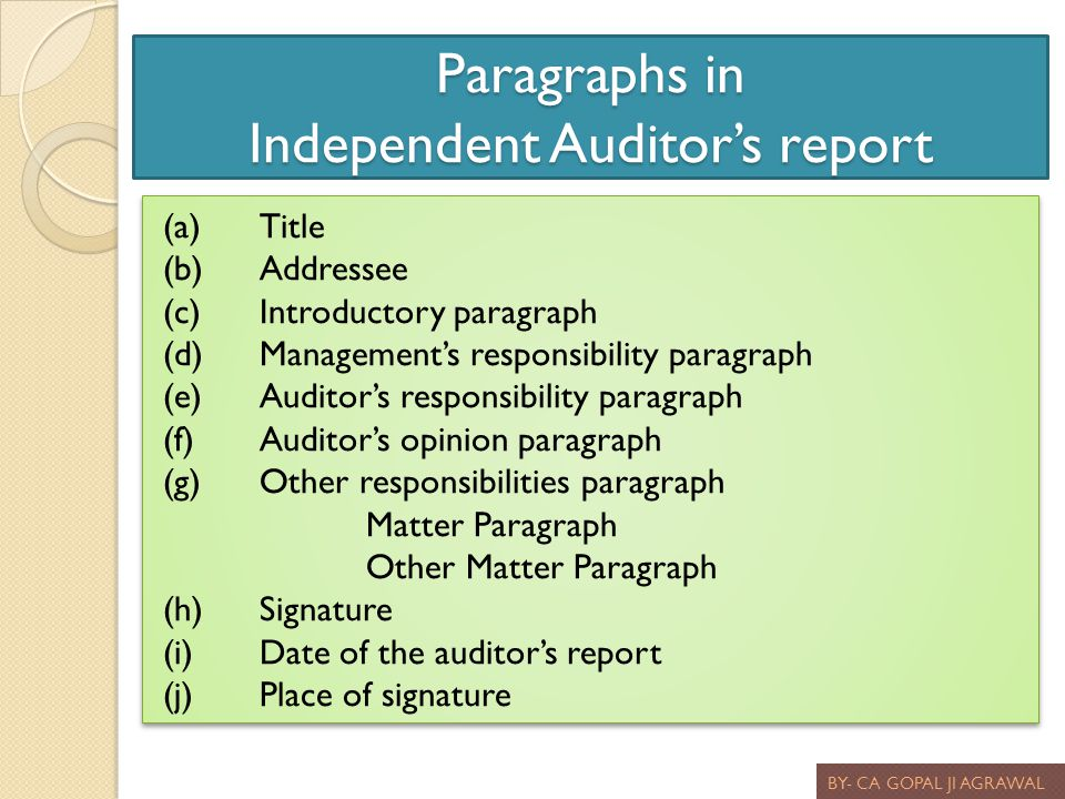 Paragraphs in Independent Auditors report BY- CA GOPAL JI AGRAWAL (a)Title (b)Addressee (c)Introductory paragraph (d)Managements responsibility paragr
