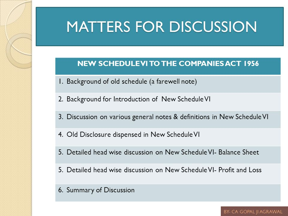 MATTERS FOR DISCUSSION MATTERS FOR DISCUSSION BY- CA GOPAL JI AGRAWAL NEW SCHEDULE VI TO THE COMPANIES ACT 1956 1. Background of old schedule (a farew