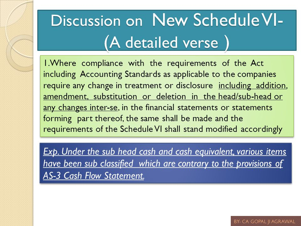Discussion on New Schedule VI- ( A detailed verse ) BY- CA GOPAL JI AGRAWAL 1.Where compliance with the requirements of the Act including Accounting S