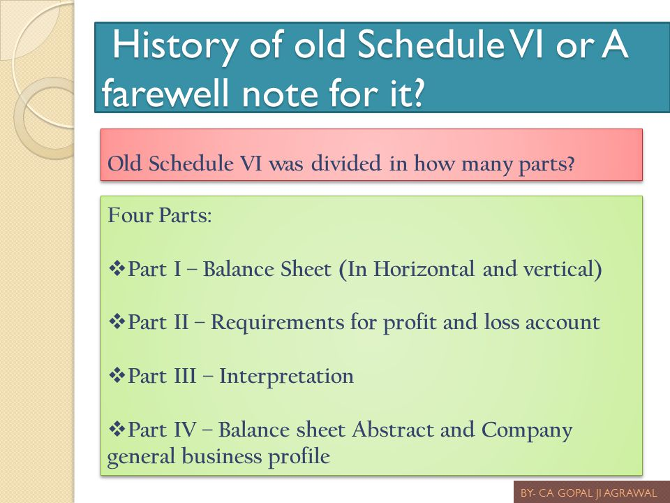 History of old Schedule VI or A farewell note for it? History of old Schedule VI or A farewell note for it? BY- CA GOPAL JI AGRAWAL Old Schedule VI wa