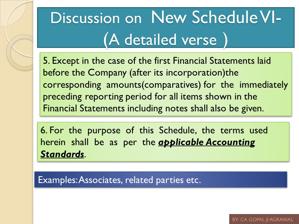 Discussion on New Schedule VI- ( A detailed verse ) BY- CA GOPAL JI AGRAWAL 5. Except in the case of the first Financial Statements laid before the Co