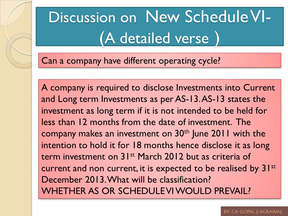 Discussion on New Schedule VI- ( A detailed verse ) BY- CA GOPAL JI AGRAWAL Can a company have different operating cycle? A company is required to dis